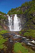 Skjervefossen waterfall near Voss, RV 13, Province of Hordaland, Vestlandet, Norway, Europe