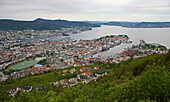 View from Floyen mountain towards Bergen town and harbour, Province of Hordaland, Vestlandet, Norway, Europe