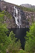 Waterfall at Ta, Norddalsfjorden, Province of Sogn og Fjordane, Vestlandet, Norway, Europe