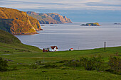 Lonely house at Kvalheim, Vagsoy Island, Province of Sogn og Fjordane, Vestlandet, Norway, Europe