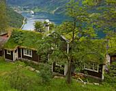 View over a farmhouse, Örneveien, towards Geirangerfjord, Geiranger, Province of More og Romsdal, Vestlandet, Norway, Europe