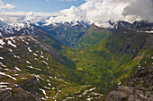 View from Dalsnibba to Geirangerfjord, Province of More og Romsdal, Vestlandet, Norway, Europe