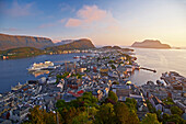 View from mountain Aksla at Alesund, Province of More og Romsdal, Vestlandet, Norway, Europe