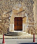 Chemins de Saint-Jacques, Saint James of Campostela Way, Linteau, Sculpture in marble above the entrance door, Saint-Genis-des-Fontaines, Dept. Pyrénées-Orientales, Roussillon, France, Europe