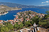 Steps up to the plains above the harbour of Kastellorizo, Dodecanese, South Aegean, Greece