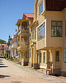 Alley with wooden houses, Istoen Island, Province of Bohuslaen, West coast, Sweden, Europe