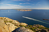 View from Ronnang on Tjoern Island to Astol Island, in the front and Istoen Island with Marstrand in the background, Province of Bohuslaen, West coast, Sweden, Europe