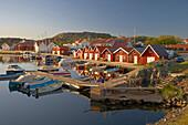 Boats and boot houses in Bleket port, Tjoern Island, Province of Bohuslaen, West coast, Sweden, Europe