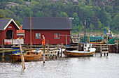 Boats and boat houses in the port of Edsvik near Grebbestad, Province of Bohuslaen, West coast, Sweden, Europe