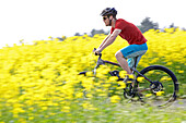 Man riding an electric bicycle between blooming canola fields, Tanna, Thuringia, Germany