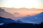 View after sunset over the Inn valley near Kufstein, Tyrol, Austria