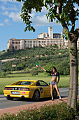 Ferrari, 348 ts, Ferrari Tribute Club, Klara of Assisi monastery with Basilica San Francesco at the foot of Monte Subasio, Assisi, Umbria, Italy, Europe