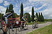 Cyclists in the Tuscan landscape near San Quirico d'Orcia, Toskana, Italy, Europe