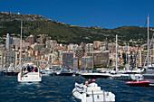 Yachts in the harbour, Port Hercule, Monaco, Monte Carlo, Cote d´Azur, France, Europe