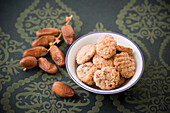 Dates and cookies, biscuits in a dish