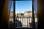 View from the window of Hotel Forum over the Roman Forum, Rome, Lazio, Italy