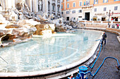 The Trevi fountain being emptied, yearly proceeds are ca 1 mio Euro, Rome, Lazio, Italy