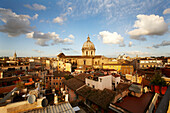 View from Hotel de Fiori over the roofs of Rome towards the dome of St. Peters, Rome, Latio, Italy