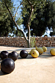 Close up of green and black olives, Masseria, Alchimia, Apulien, Italien