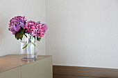 Flowers in a vase, Hotel Lindners, Bad Aibling, Rosenheim, Upper Bavaria, Bavaria, Germany