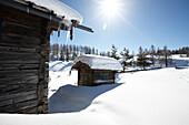 Alm hut in snow, St. Johann im Pongau, Salzburg, Austria