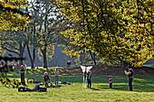 Children flying kites, Englischer Garten, Munich, Upper Bavaria, Bavaria, Germany