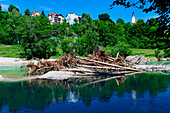 Piles of driftwood on the river Isar, Pullach, Munich, Upper Bavaria, Bavaria, Germany