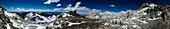 White Rocks campsite on Aconcagua 360 degree panorama, Mendoza area, Argentina