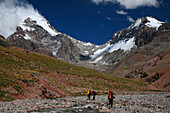 Mountaineers hiking into base camp on Aconcagua Polish Route, Andes Mountains, Argentina Mendoza, Andes Mountains, Argentina