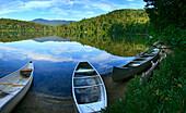 Swamped canoes on Heart Lake, Adirondack Park, NY, USA, Lake Placid, NY, USA