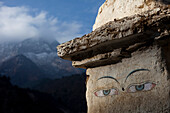 The eyes of a trail side stupa keep watch over travelers in Nepal Solukhumbu Region, Nepal