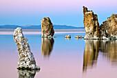 Interesting tufa formations at sunset in Mono Lake in the Eastern Sierra, CA Mono Lake, California, USA