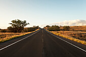 Highway 270 on the Big Island of Hawaii is seen without any cars traveling on its path Hawaii, United States