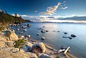 Beautiful late afternoon light on the east shore of Lake Tahoe near sunset, Nevada Lake Tahoe, Nevada, USA
