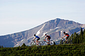 A group of three cyclists riding at the crest of a mountain pass near Vail, Colorado Vail, Colorado, USA