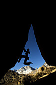 Overhang climbing silhouette, Bishop, California, United States