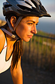 Portrait of a female tri-athlete overlooking the Pacific Ocean in Palos Verdes, California Palos Verdes, California, United States