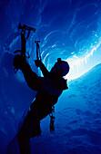 Ice climber, New Zealand (silhouette), West Coast, New Zealand