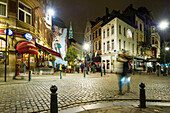 Historic city with bars and restaurants at night, City of Brussels, Belgium
