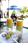 Mango-avocado juice served in a juice bar, Bahir Dar, Amhara region, Ethiopia