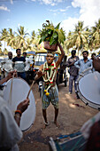 Pilgrim carrying holy water on his head while dancing, Mysore, Karnataka, India