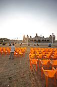 Preparation for evening light show, Amba Vilas Palace, Mysore, Karnataka, India