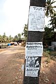 Workshop poster at trunk, Gokarna, Karnataka, India