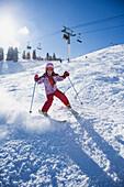 Asian girl skiing, Solitude, UT