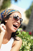 Hispanic woman laughing, Miami, FL