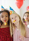Multi-ethnic girls at birthday party, Jersey City, NJ