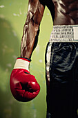 Close up of African male boxer's arm, Gaithersburg, MD