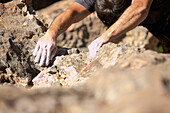 Close of up of chalk on Argentinean rock climber's hands, Bariloche, Argentina