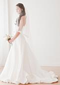 Mixed race bride in wedding dress, Jersey City, NJ