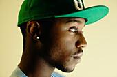 African American man wearing baseball cap, Norfolk, VA